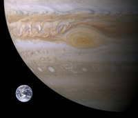 Earth and Jupiter size comparison